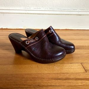 Born Brown Slip On Genuine Leather Clogs Mules